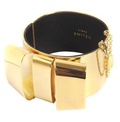 NEW NIB CELINE PARIS GOLD BOW MANCHETTE CUFF Hinged BRACELET Shackle