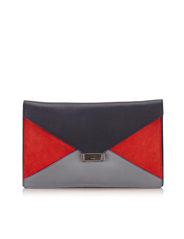 NEW NWT CELINE DIAMOND CLUTCH Suede Leather Purse Bag BLUE GRAY RED