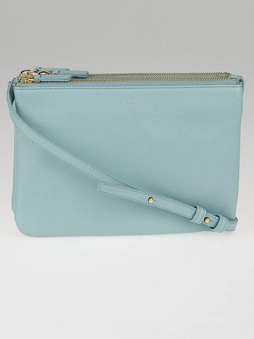 NEW NWT CELINE PARIS Leather TRIO Crossbody Zip Bag Purse GLACIER BLUE