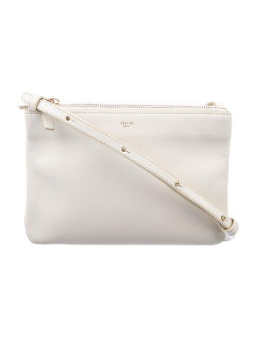NEW NWT CELINE PARIS Leather TRIO Crossbody Zip Bag Purse WHITE CREME