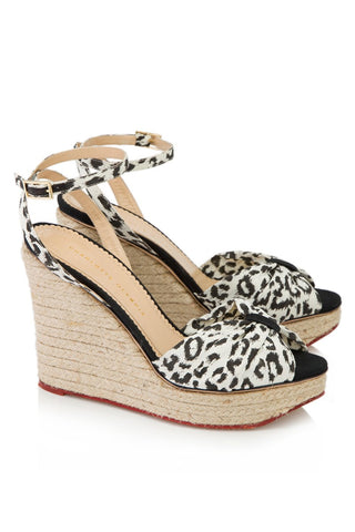 NEW CHARLOTTE OLYMPIA MELODY WEDGE HEEL Shoe 36 6 LEOPARD Espadrille