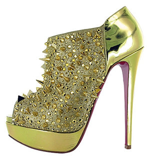 CHRISTIAN LOUBOUTIN BRIDGET'S BACK GOLD SPIKE High Heel Pump Shoe 37 6.5 Stiletto Peep Toe