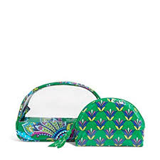 NEW VERA BRADLEY Clear Cosmetic Duo in Emerald Paisley GREEN Clutch Makeup Organizer
