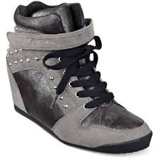 NEW Womens GUESS RAURIE Hi-Top Sneaker Sports Athletic Shoe 6.5 GRAY Stud