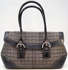 COACH 7080 VACHETTA Jacquard Hobo Handbag Satchel TOTE BLACK Leather