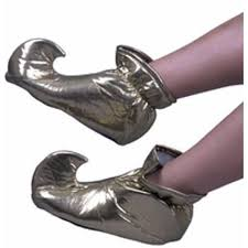 NEW Childs GOLD ALADDIN ELF JESTER GENIE SHOES Halloween Costume Cosplay L