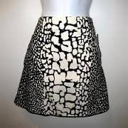 Womens J. Crew Cotton Mini Skirt BLACK WHITE GIRAFFE Sz 8 ANIMAL PRINT