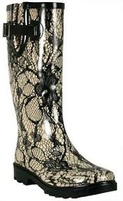Womens CHOOKA LACEY LACE CREAM Wellies Rain Boots Gumboots Foul Weather 7 Vegan