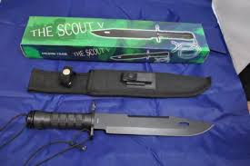 NEW THE SCOUT V 15-033B Fixed Blade Survival Knife w Sheath BLACK HK569-150B