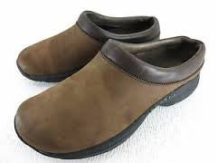 Womens MERRELL JUNGLE PRIMO DARK BROWN Leather Clogs Shoes 9.5 Slip on Mule