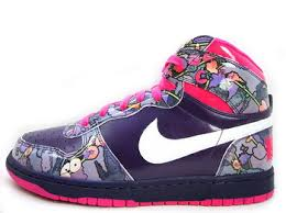 Womens Nike DUNK GRAND HIGH 358858-511 Hi-Top Basketball Sneaker 9 PURPLE PINK FLORAL