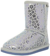 Kids Girls BEARPAW BETSEY YOUTH short suede boot sheepskin shearling 3 SILVER