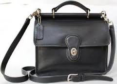 Vintage COACH 9927 WILLIS Leather Turnlock Flap Crossbody Shoulder Bag BLACK Briefcase