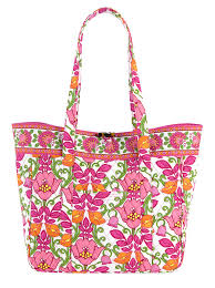 VERA BRADLEY LILLI BELL Vegan Quilted Satchel TOTE Book Bag Carryall Shopper PINK FLORAL