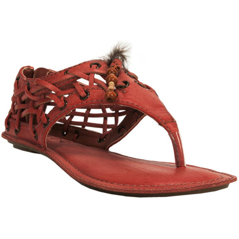 MINT Womens Big Buddha Vegan Peek Thong Sandal Distress 9.5 RED FEATHER