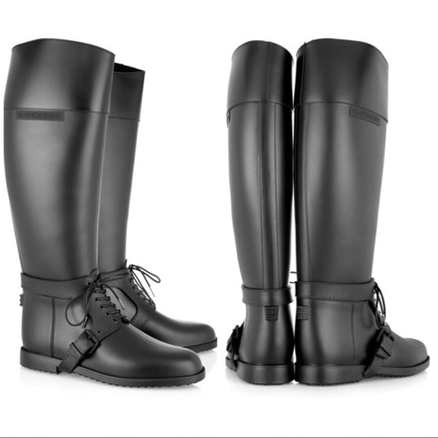 NEW GIVENCHY RUBBER RIDING RAIN BOOT Wellies 36 6 BLACK Wellington Womens