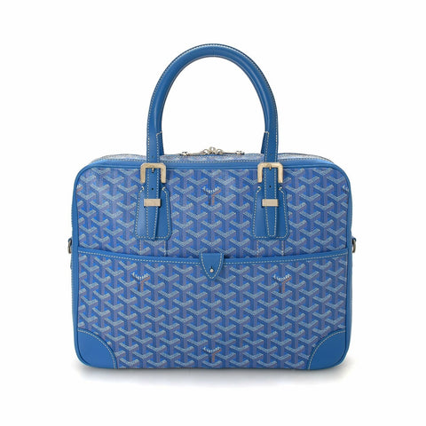 NEW GOYARD Goyardine Ambassade PM Briefcase BLUE Bag NWT