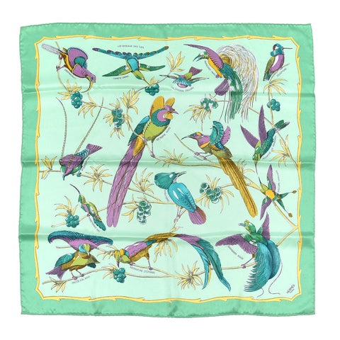 NEW HERMES PARIS 100% SILK SCARF 70x70 JADE Exotic BIRD GREEN NIB
