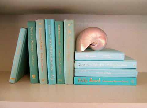 Books By The Foot Box Instant Library Home Interior Design SEA GLASS GREEN BLUE Color Therapy
