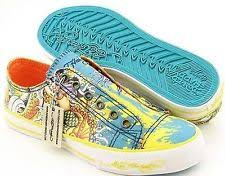 Womens ED HARDY TIEDYE Lowrise Shoes Sneaker Trainer MERMAID KOI 9 TURQUOISE FISH