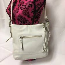 COACH 1415 LEGACY SLIM DUFFLE TASSEL Leather Hobo Bag Purse WHITE CREME