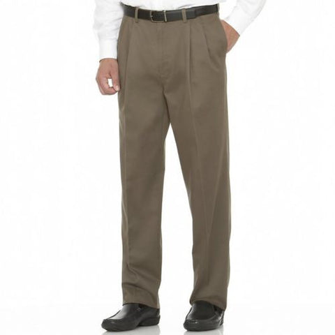 NEW MENS SAVANE SHARKSKIN Pleated PANTS 44X30 Khaki ROCK TAUPE