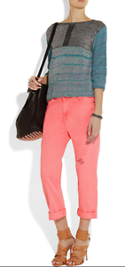 NEW CURRENT/ELLIOTT BOYFRIEND Jean Pant 28 NEON PINK DESTROY