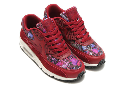 NEW Nike Air Max 90 Floral Running Sneaker Trainer 6.5 BURGUNDY RED Womens