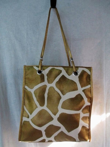 NEW VICTOR Vegan TOTE Shoulder Beach BAG Organizer Shopper GOLD WHITE GIRAFFE L
