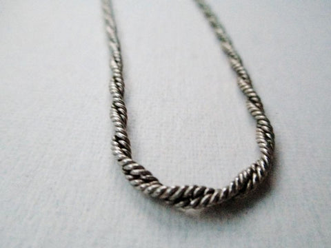 "17"" ITALY STERLING SILVER twist CURLY TWIRLY Rope Metal Chain NECKLACE COLLAR"