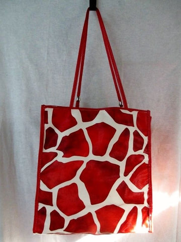 NEW VICTOR Vegan TOTE Shoulder Beach BAG Organizer Shopper RED WHITE GIRAFFE