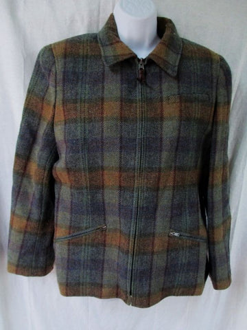 Womens RALPH LAUREN Wool jacket coat PLAID HEATHER SEAFOAM 10 BLUE
