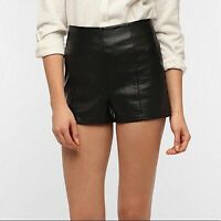 Urban Outfitters Sparkle & Fade Black Faux Leather High Waisted Shorts 4 Womens