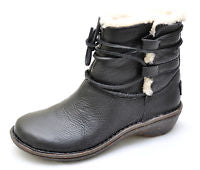 Womens UGG AUSTRALIA 1932 CASPIA Leather Shearling Sherpa BOOTS Shoe BLACK 7