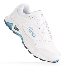 Womens FILA WHITE DYNAMIC LANDING SYSTEM Leather Running Sneakers 9 Shoes Workout Athletic Fitness