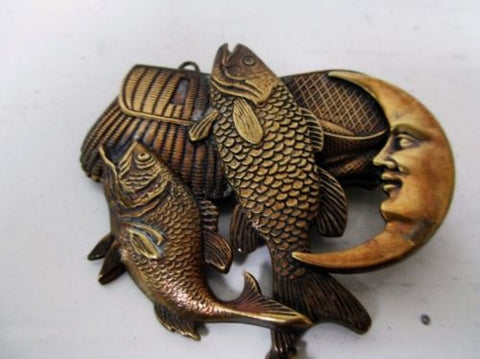 Vtg Style Brasstone FISH HEART BASKET MOON BOW Dangle Jewelry Brooch Deco Pin