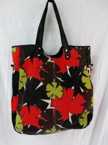 LULU Vegan Floral Carryall Shoulder Bag Tote Bag Shopper Beach Satchel RED GREEN