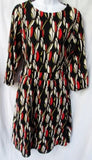NEW WOMENS STYLEWE CYANINE SEA RED MULTI Abstract 1960s Style Dress S 2-4