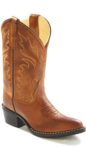 Kids Boys Girls Youth OLD WEST Leather Western Cowboy Boot 8129 BROWN Sz 3.5