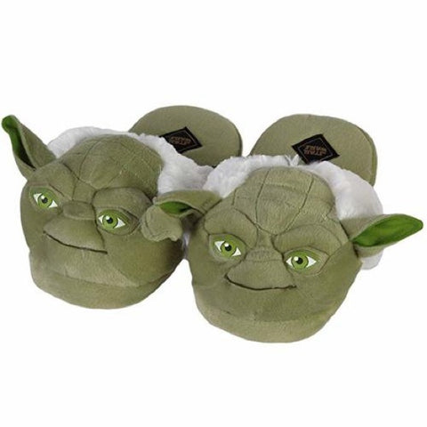 STAR WARS BIOWORLD YODA SLIPPER Slide Shoe M Plush GREEN