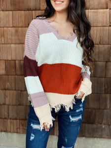 Autumn Mood Distressed Sweater