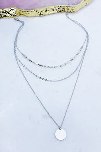 Jodi Layered Coin Necklace in Silver