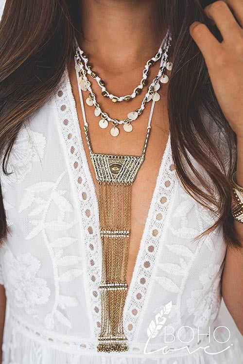 Bohemian Layered Tassel Statement Necklace
