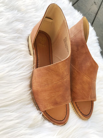 Open Toe Side Cutout Booties in Cognac