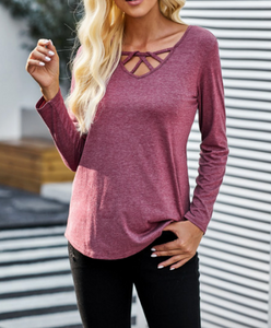 Kristie Criss Cross Top in Plum