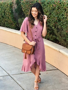 Mimosa Morning Blush Button Dress