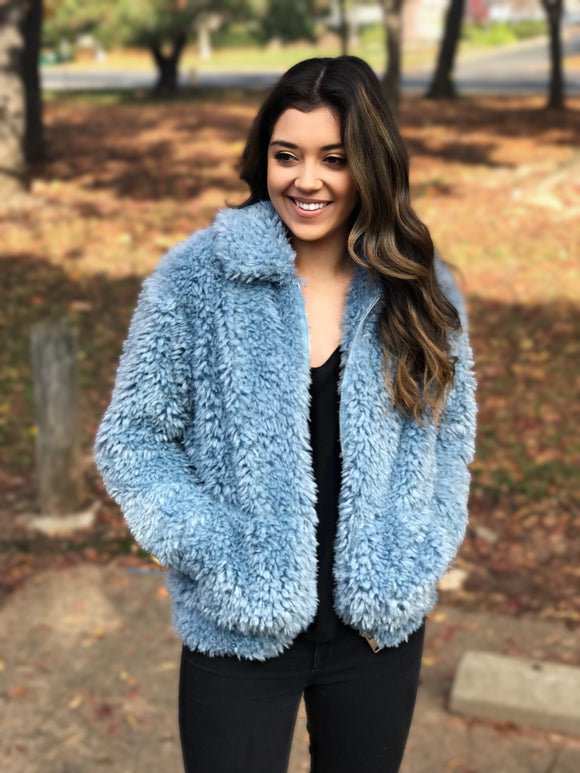 Snowflakes in the City Faux Fur Sweater