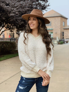Warm Smiles Popcorn Knit Sweater in Cream