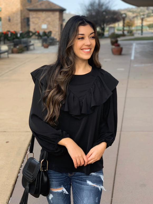 Great News Ruffle Top in Black