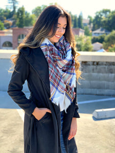Front Tie Coat in Black